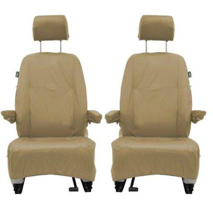 VW Transporter T5 Fully Tailored Waterproof Front Single Set Seat Covers 2009-2013 Heavy Duty Left Hand Drive Beige