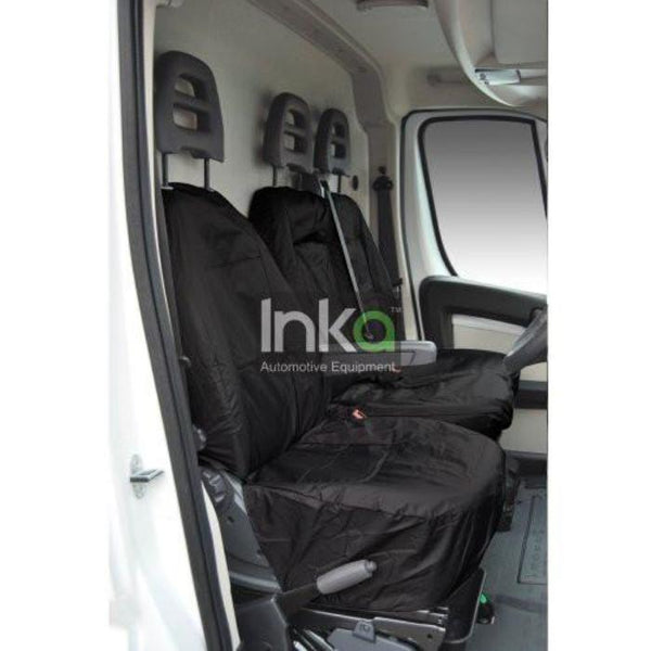 Citroen Relay Fully Tailored Inka Waterproof Front Single and Double Set Seat Covers 2006 - 2014 Heavy Duty Right Hand Drive Black
