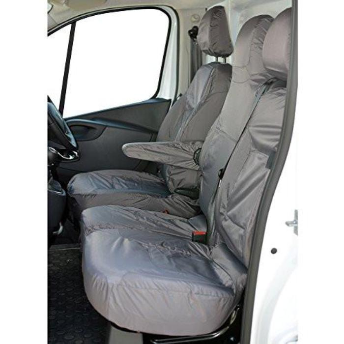 2014 on Grey Front Rear Bench Seat Covers Vauxhall Vivaro Crew Cab Sportive