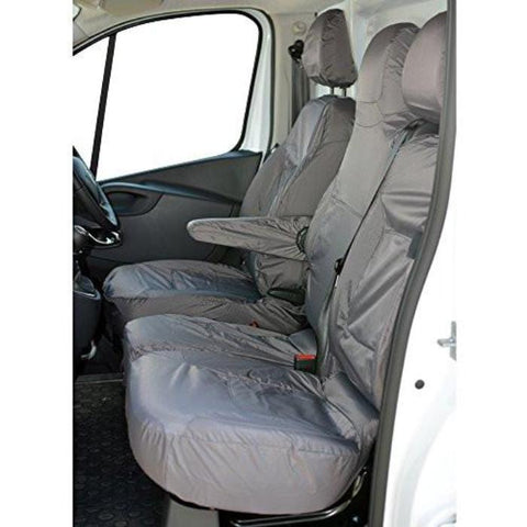 Vauxhall Vivaro Fully Tailored Waterproof Front 1+2 Set Seat Covers 2014 Onwards Heavy Duty Right Hand Drive Grey - INK-WSC-9002