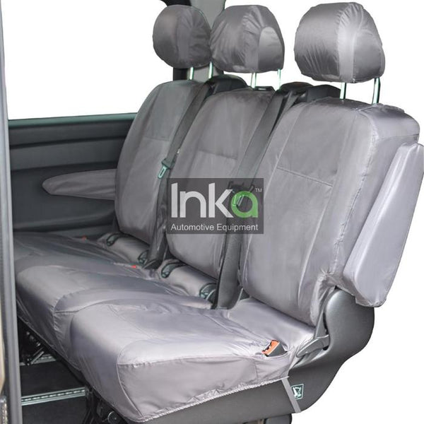 Mercedes Vito RHD Rear Inka Tailored Waterproof Seat Covers Black Comfort 1+2 Split Seat with Armrests MY 2014 onwards