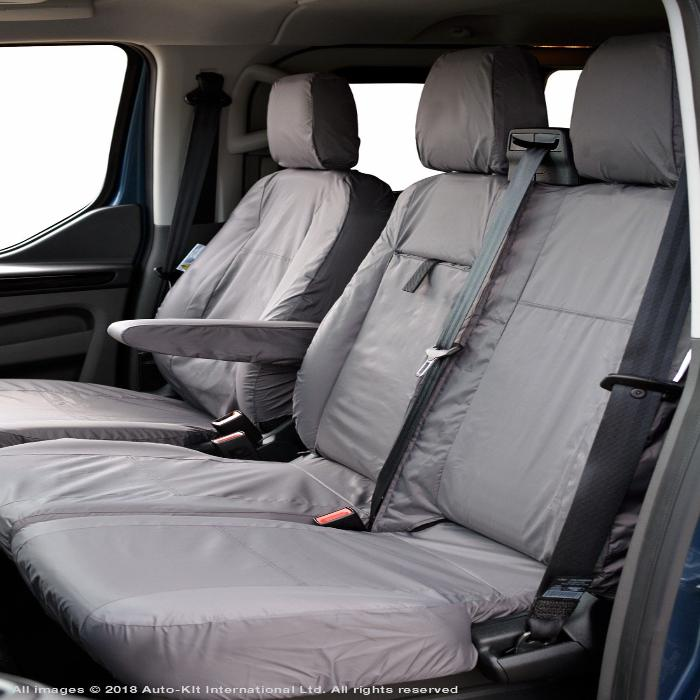 Ford Transit Custom Fully Tailored Waterproof Front Seat Cover Set 2012 Onwards Heavy Duty Right Hand Drive Grey