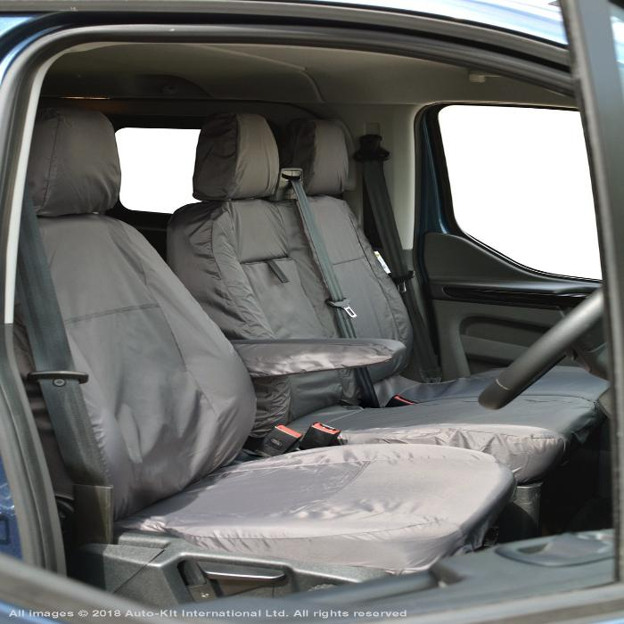 Ford Transit Custom 2013 Onwards Tailored /& Waterproof Grey Front Seat Covers