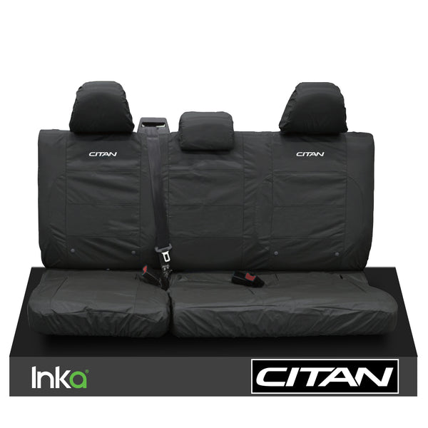 MERCEDES BENZ CITAN W415 MK1 INKA REAR TAILORED EMBROIDERY WATERPROOF SEAT COVERS BLACK