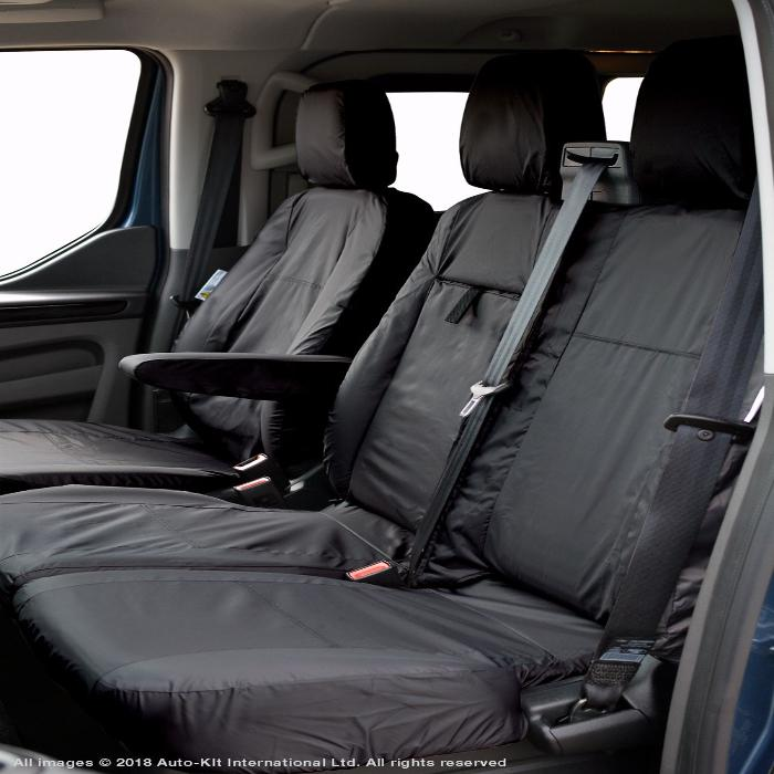 Ford Transit Custom Fully Tailored Waterproof Front Seat Cover Set 2012 Onwards Heavy Duty Right Hand Drive Black