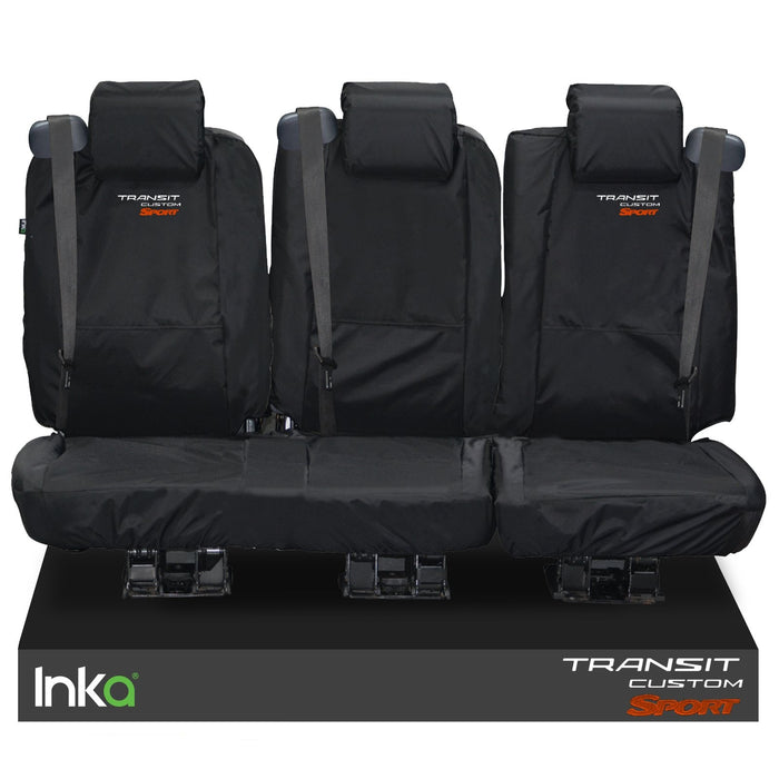 Ford Transit Custom Crew Cab Rear Tailored Waterproof Seat Covers Embroidery Black [Choice Of 6 Colours]