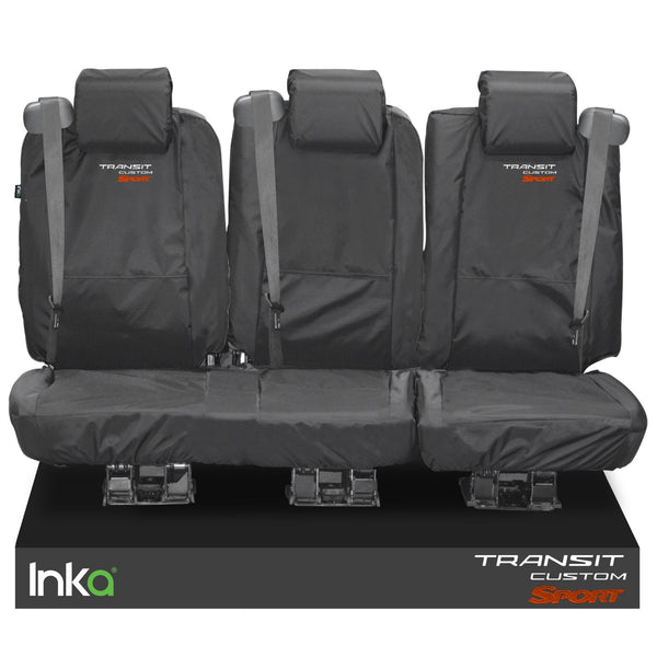 Ford Transit Custom Crew Cab Rear Tailored Waterproof Seat Covers Embroidery Grey [Choice Of 6 Colours]