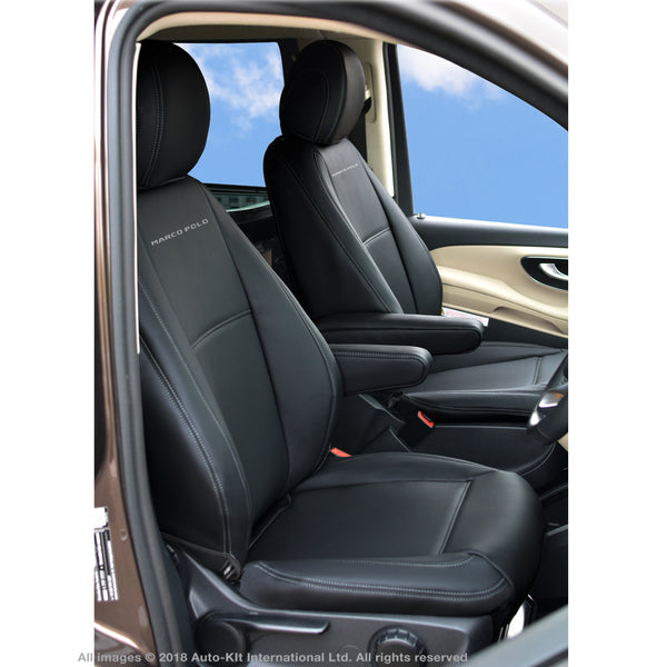 INKA Tailored Mercedes Benz W447 MK 3 V Class Front 1+1 Black Leatherette Seat Covers