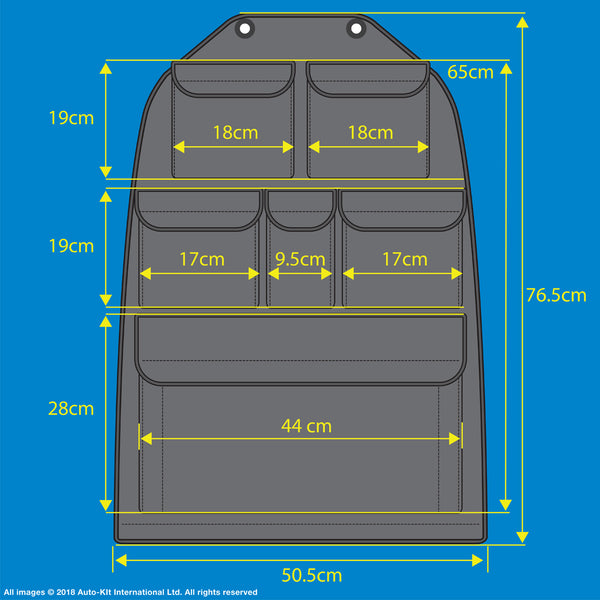 "VW California T6,T5 Inka Multibox Seat Storage Pockets Organsier Tool Black Leatherette With bespoke "" California"" embroidery"