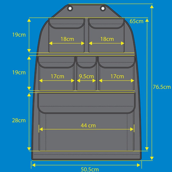 Inka AKI-VIN-988-BL VW Transporter Multibox Seat Storage Pockets, Tool Tidy Organiser T6 or T5, Black