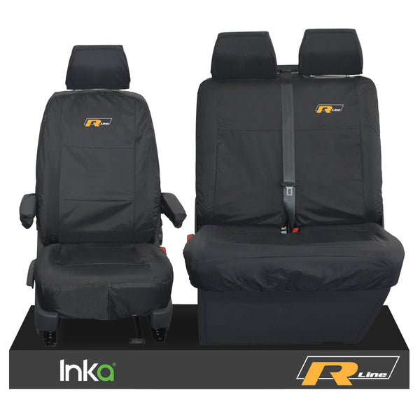 VW TRANSPORTER T6.1,T6,T5.1 KOMBI OR PANEL VAN INKA FRONT 1+2 WATERPROOF SEAT COVERS BLACK
