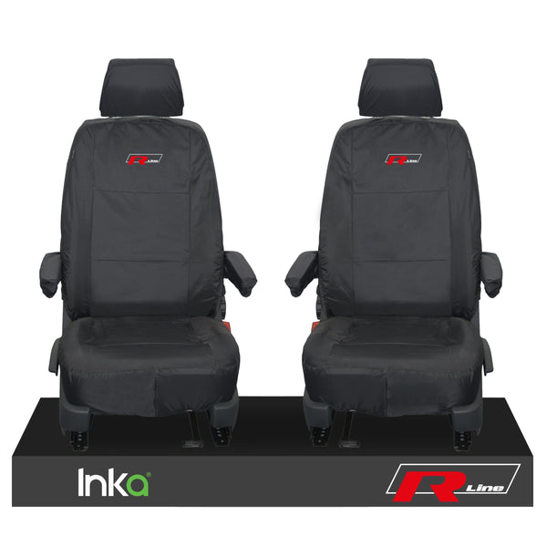 VW TRANSPORTER T6.1,T6,T5.1 KOMBI OR PANEL VAN INKA FRONT 1+1 WATERPROOF SEAT COVERS BLACK