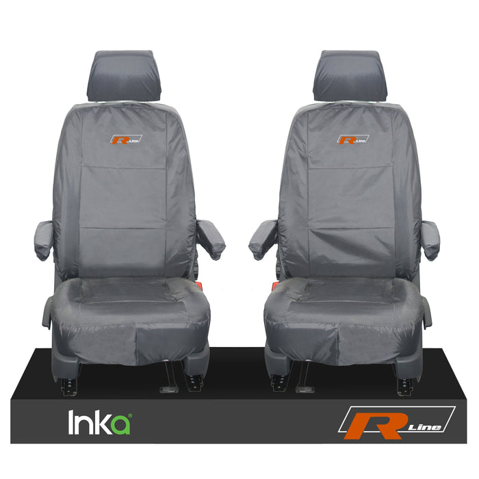 VW TRANSPORTER T6.1,T6,T5.1 KOMBI OR PANEL VAN INKA FRONT 1+1 WATERPROOF SEAT COVERS GREY