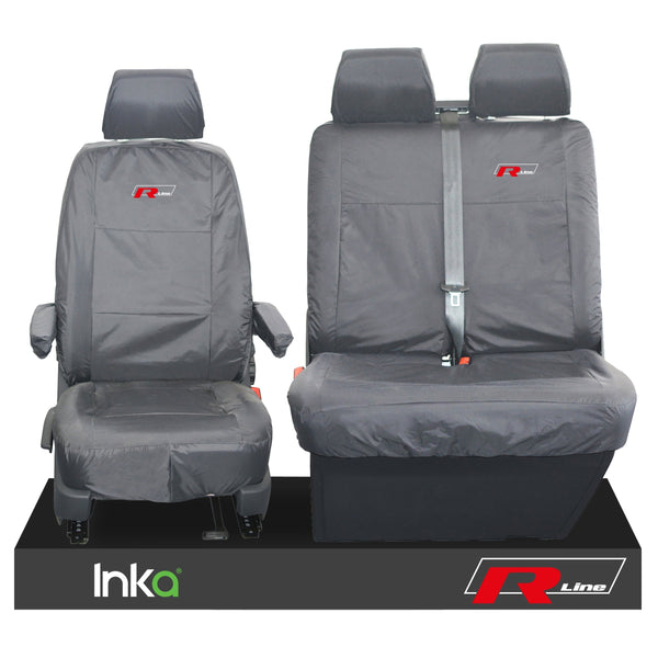 VW TRANSPORTER T6.1,T6,T5.1 KOMBI OR PANEL VAN INKA FRONT 1+2 WATERPROOF SEAT COVERS GREY
