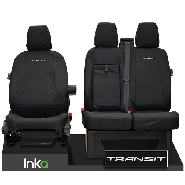 FORD TRANSIT MK8 FRONT TAILORED WATERPROOF SEAT COVERS JUMBO BLACK 14-2021