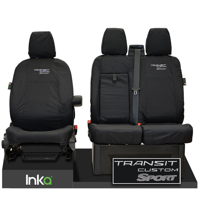 Ford Transit Custom Front Tailored Waterproof Seat Covers Embroidery Black [Choice of 6 Colours]