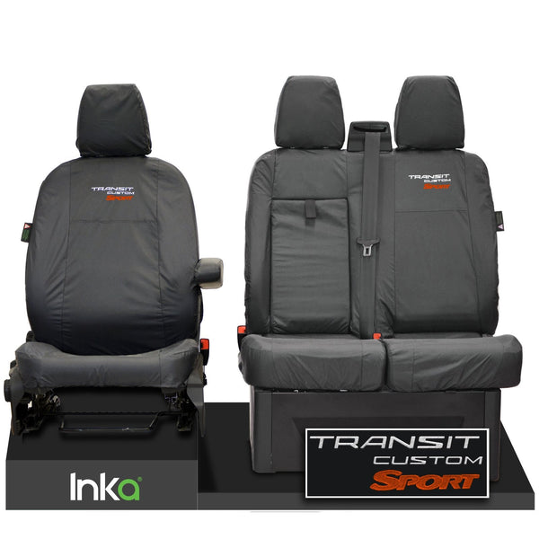 Ford Transit Custom Front Tailored Waterproof Seat Covers Embroidery Grey [Choice of 6 Colours]