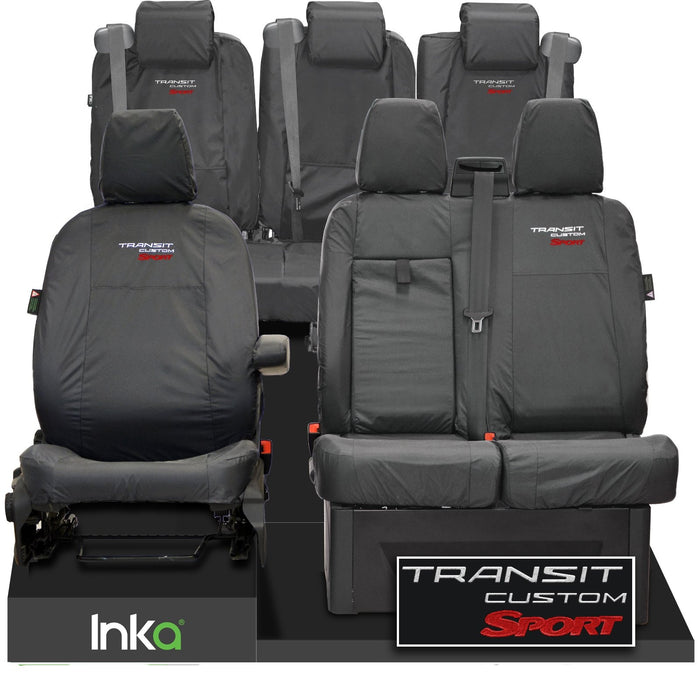 Ford Transit Custom Crew Cab Sport Front & Rear Tailored Waterproof Seat Covers Embroidery Grey [Choice of 6 Colours]