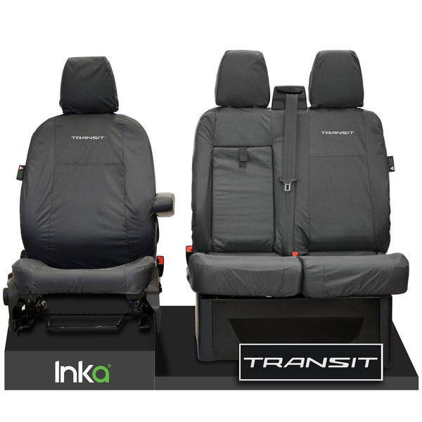 FORD TRANSIT MK8 FRONT TAILORED WATERPROOF SEAT COVERS JUMBO GREY 14-2021