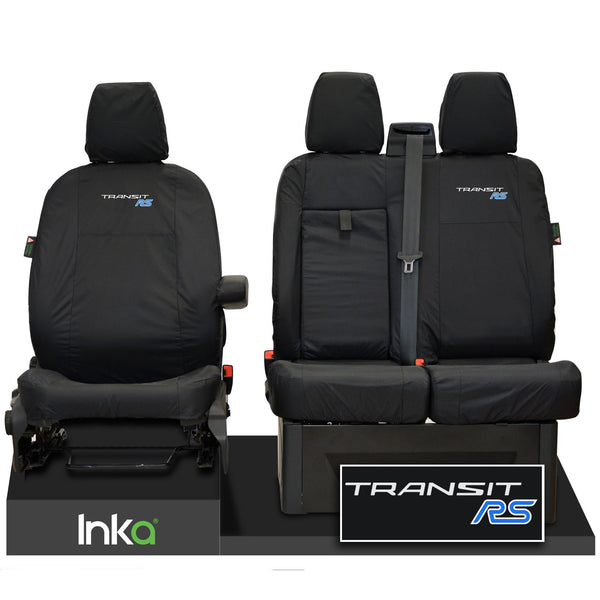 FORD TRANSIT MK8 RS FRONT TAILORED WATERPROOF SEAT COVERS BLACK JUMBO 2014-2021