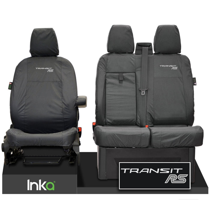FORD TRANSIT MK8 RS FRONT TAILORED WATERPROOF SEAT COVERS GREY JUMBO 2014-2021