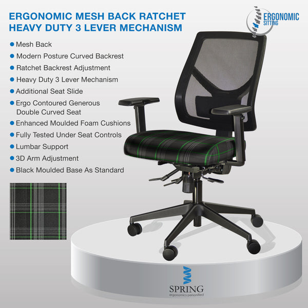 ERGONOMIC OFFICE CHAIR WITH TILT,3D ARMREST & ADJUSTABLE SEAT,MESH TARTAN FABRIC