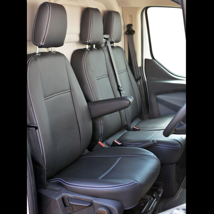 INKA Tailored Ford Transit Custom Front Seat Covers Black OEM Vinyl Matt Leatherette  - MY 2012 onwards [Choice of 3 colours]