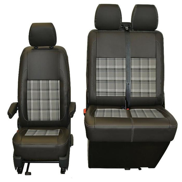 INKA Tailored VW Transporter T6,T5 Front Seat Covers Black Matt Leatherette with coloured GTi Tartan Centres [Choice of 7 colours]