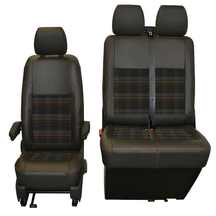 INKA Tailored VW Transporter T6.1, T6 & T5.1 Front Seat Covers Black Matt Leatherette with coloured GTi Tartan Centres [Choice of 7 colours]