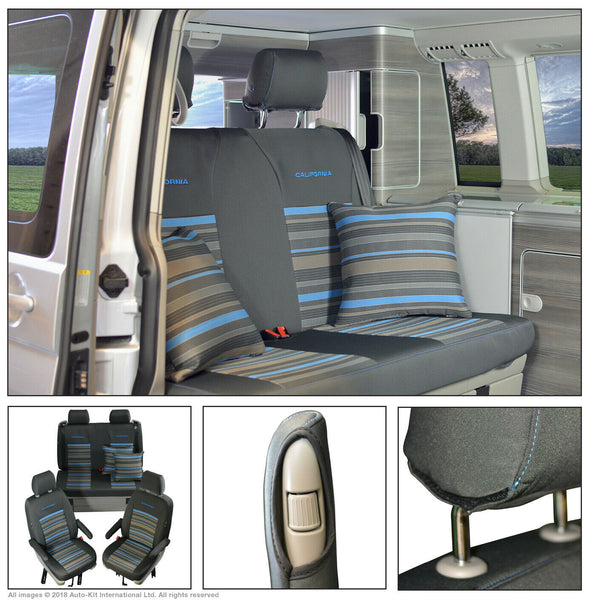VW California T6 T5 Ocean, Coast, SE Tailored Lifestyle Seat Covers, Second Skin Takato Grey