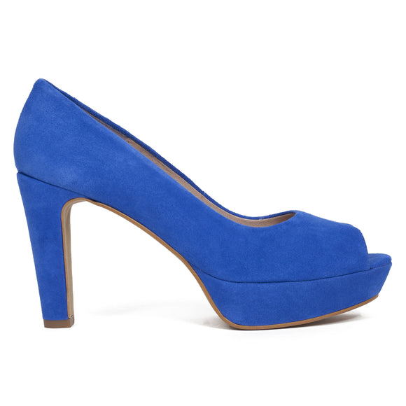El zapatos de tacon peep toe color azul