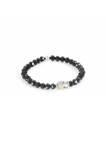 Bracelet - Black crystal with Buddha head