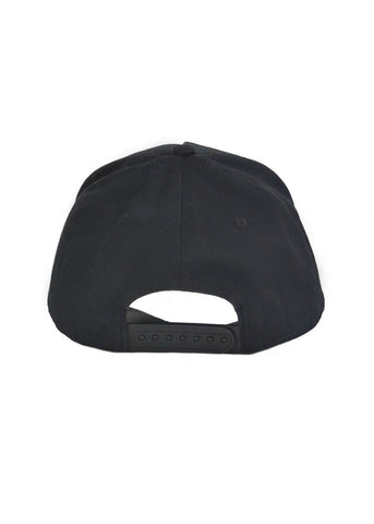 Black snapback, white logo with black border