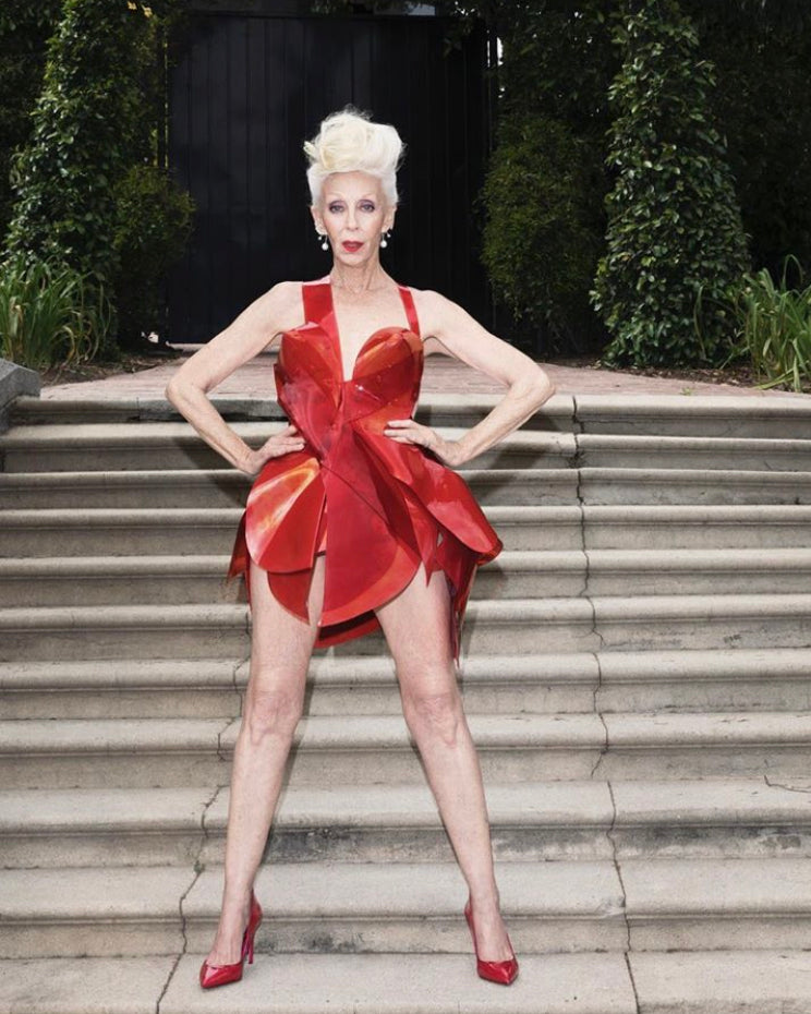 The absolutely stunning Colleen Heidemann in Jivomir Domoustchiev red sculpture vinyl dress