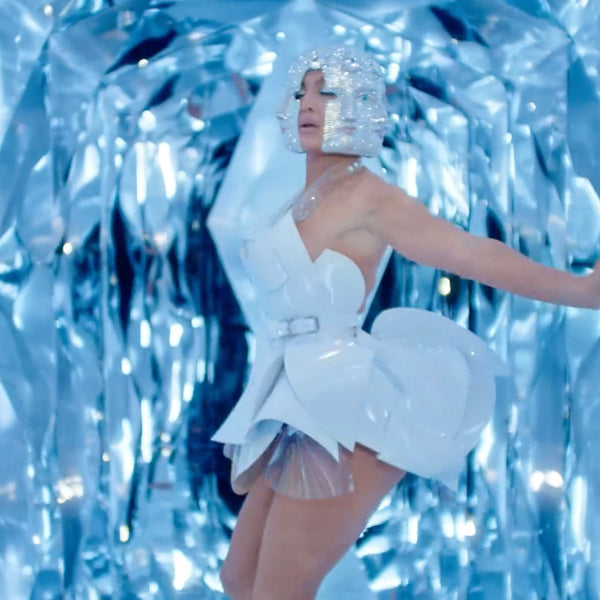 Jennifer Lopez JLo wearing Jivomir Domoustchiev  sculpture dress 'Medicine' music video featuring French Montana