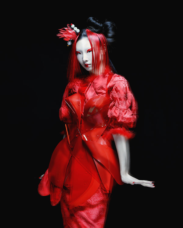 SCMP Style Magazine China x Jivomir Domoustchiev red vinyl sculpture dress