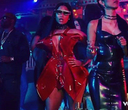 Nicki Minaj NoFrauds wearing custom Jivomir Domoustchiev Red Dress No Frauds Video featuring Drake