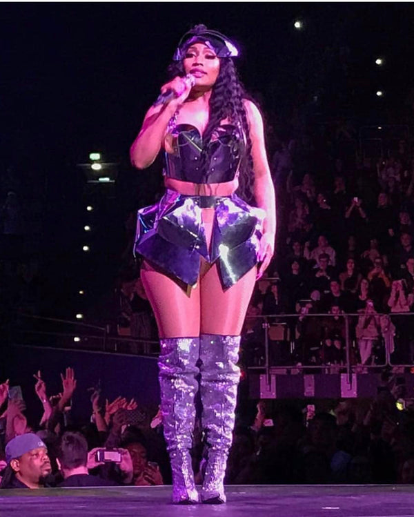 Nicki Minaj World tour wearing  Jivomir Domoustchiev custom metallic skirt and bustier