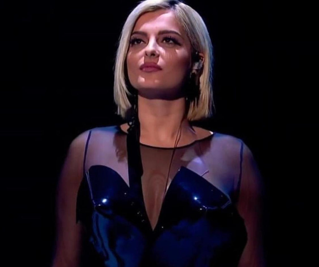 Bebe Rexha wearing Jivomir Domoustchiev black sculpture dress