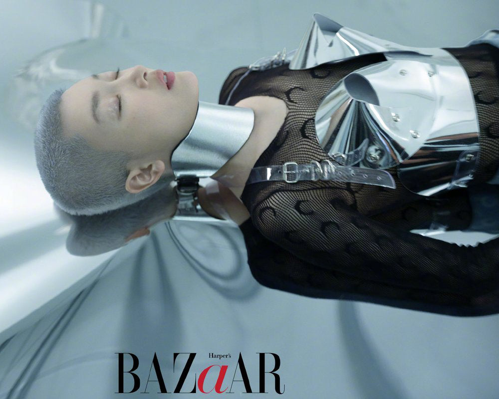 Jivomir Domoustchiev x Harpe's Bazaar China 2020 chrome sculpture bustier