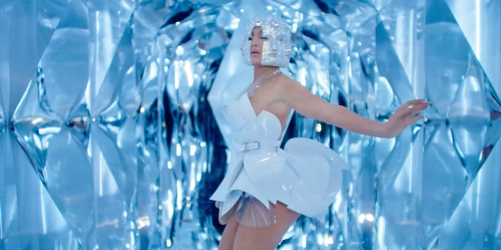 Jennifer Lopez JLo wearing Jivomir Domoustchiev white sculpture vegan vinyl plastic dress Medicine video