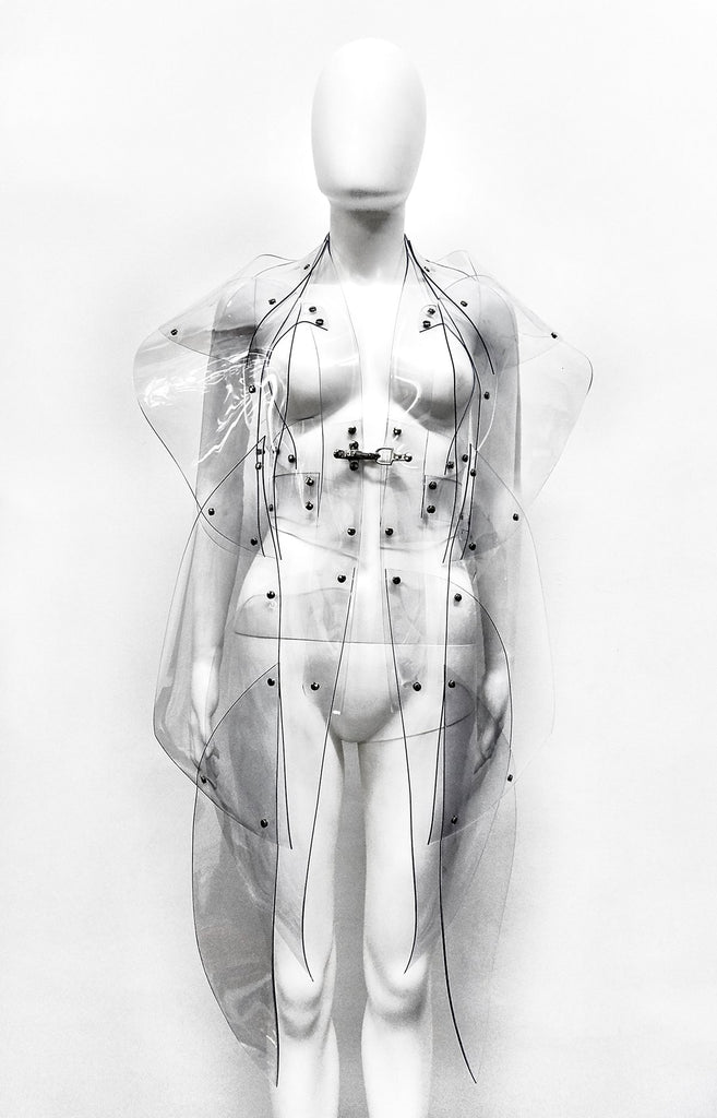 Jivomir Domoustchiev  Custom Clear vegan vinyl Galaxy Sculpture coat for the posters of her upcoming tour.