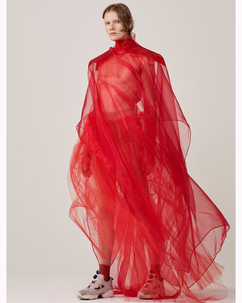 Jivomir Domoustchiev clear red exaggerated shoulder dress x models.com