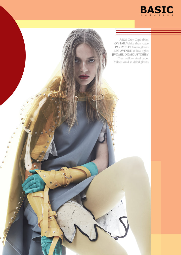 Jivomir Domoustchiev yellow studded cape & wrist cuffs x Basic Magazine