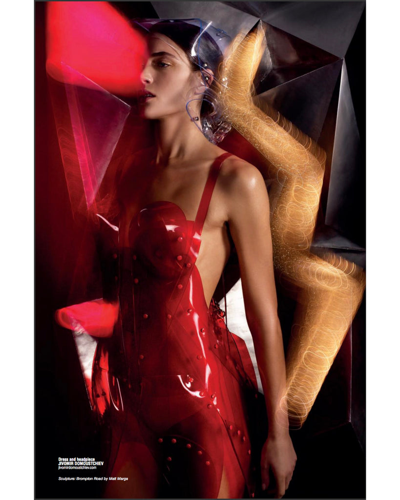 Jivomir Domoustchiev transparent red sculpture dress