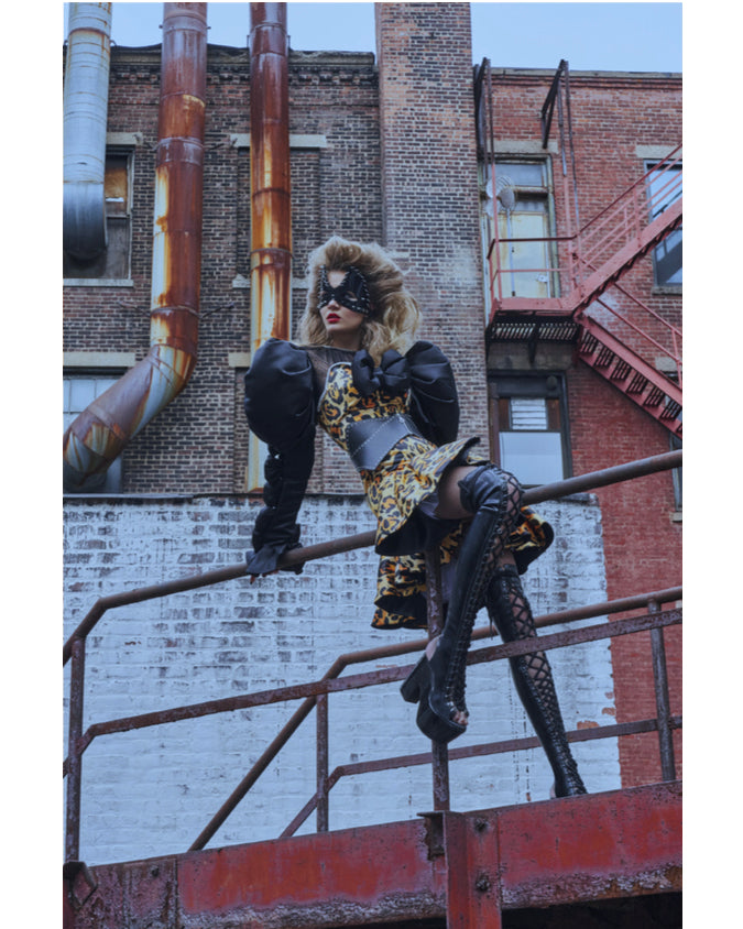 Josephine Skriver wearing Jivomir Domoustchiev vegan vinyl superhero studded mask x Sayuri Bloom x Collectible Dry magazine