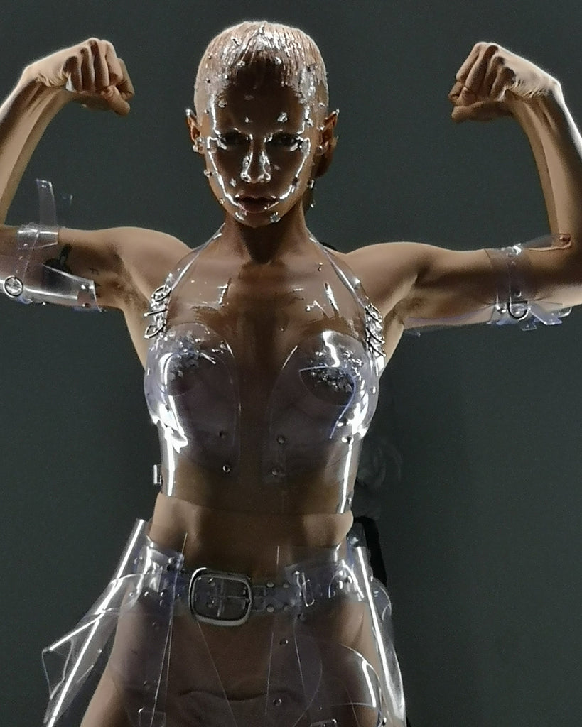 Jivomir Domoustchiev clear vinyl bra matching skirt x Nick Knight x Showstudio x Uglyworldwide
