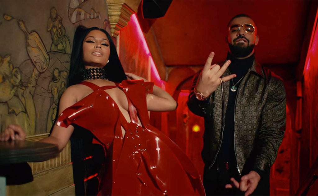 Nicki Minaj Wearing Jivomir Domoustchiev for No Frauds Video featuring Drake