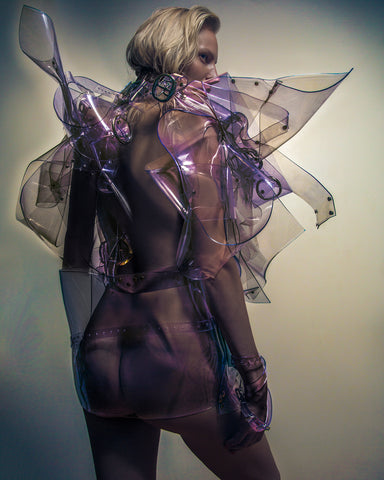 Jivomir Domoustchiev double clear dress as sculpture photographed by Alberto Maria Colombo