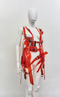 Jivomir Domoustchiev multi belt harness dress transparent red